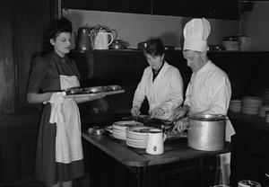 A REST BREAK HOME FOR NURSES: EVERYDAY LIFE AT A HOSTEL FUNDED BY THE BRITISH WAR RELIEF SOCIETY, BEDFORD HOTEL, BUXTON, DERBYSHIRE, ENGLAND, UK, 1945