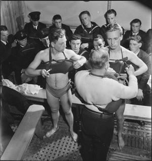 BELGIAN SAILORS AT A SKEGNESS TRAINING CAMP: BELGIAN NAVAL TRAINING AT BUTLIN'S, SKEGNESS, LINCOLNSHIRE, ENGLAND, UK, 1945