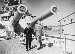 BRITISH MINISTER OF STATE IN THE MIDDLE EAST VISITS C IN C MEDITERRANEAN FLEET. 31 DECEMBER 1941, ON BOARD HMS QUEEN ELIZABETH. VISIT OF THE RIGHT HON OLIVER LYTTLETON TO ADMIRAL SIR ANDREW CUNNINGHAM, C IN C MEDITERRANEAN FLEET.