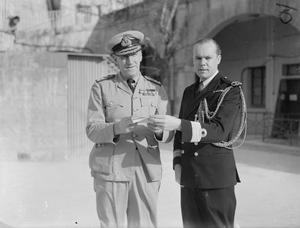 VICE ADMIRAL PROMOTED TO FULL FLAG RANK. 8 JANUARY 1942, MALTA.