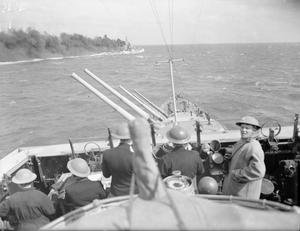 CONVOY FROM ALEXANDRIA TO MALTA MEETS AND ENGAGES ITALIAN WARSHIPS. 22 MARCH 1942, ON BOARD HMS EURYALUS.