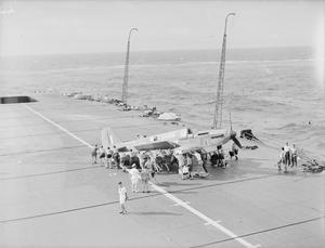 MADAGASCAR OPERATIONS. 24 APRIL TO 10 MAY 1942, ON BOARD HMS FORMIDABLE, OPERATING WITH THE NAVAL COVERING FORCE FOR THE OPERATION AT MADAGASCAR. THE FORCE LEFT COLOMBO ON 24 APRIL, PUT INTO THE SEYCHELLES ON 1 MAY. THE FLEET AIR ARM CARRIED OUT EXTENSIVE SEARCHES AND PATROLS OVER A WIDE AREA DURING THE OPERATION. THE COVERING FORCE THEN PUT INTO MOMBASA ON 10 MAY AFTER THE OPERATION WAS CONCLUDED.