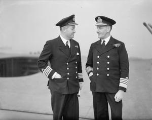NEW C IN C EASTERN FLEET LEAVES TO TAKE UP HIS NEW APPOINTMENT. 16 FEBRUARY 1942, ON BOARD THE FLAG SHIP HMS FORMIDABLE. ADMIRAL SIR JAMES SOMMERVILLE, KCB, KBE, DSO, LEAVING TO TAKE ON HIS NEW APPOINTMENT AS C IN C EASTERN FLEET.