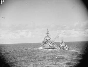 WITH THE NAVAL COVERING FORCE FOR THE MADAGASCAR OPERATIONS. 24 APRIL TO 10 MAY, ON BOARD HMS FORMIDABLE AT SEA. THE COVERING FORCE LEFT FROM COLOMBO ON THE 24TH OF APRIL, ARRIVED AT THE SEYCHELLES TO REFUEL ON 1 MAY AND AFTER COVERING THE OPERATIONS AT MADAGASCAR RETURNED TO MOMBASA ON 10 MAY.
