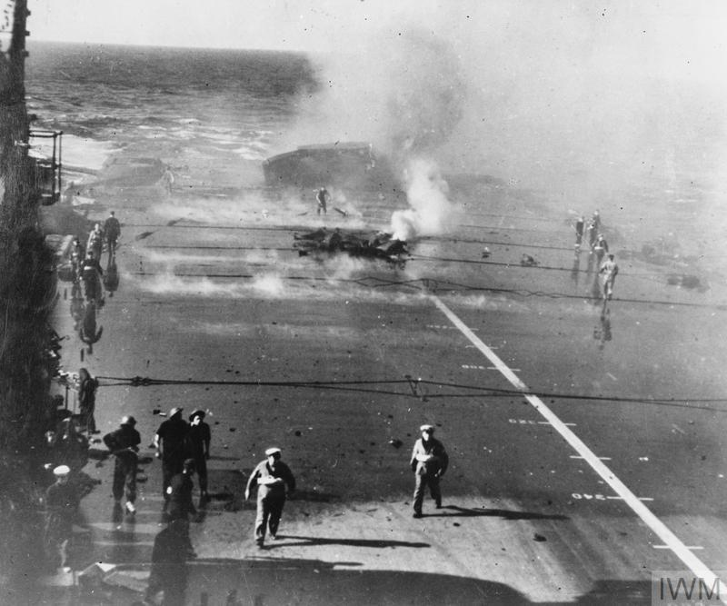 THE BOMBING OF HMS ILLUSTRIOUS AT MALTA. 10 JANUARY 1941, ON BOARD THE AIRCRAFT CARRIER.