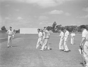 A CRICKET MATCH: MEN OF HM AIRCRAFT CARRIER INDOMITABLE V THE NAIROBI GYMKAHNA CLUB. 25 JUNE 1942.