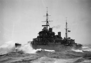 HMS KENYA IN THE ARCTIC CIRCLE. MAY 1942.