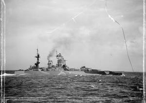 HMS NELSON AT SEA. 7 MAY 1942, AT SEA DURING THE BATTLESHIP'S GUNNERY TRIALS AND EXERCISES AFTER HER REPAIR.