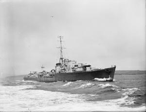 HMS ONSLOW, BRITISH O CLASS DESTROYER. 7 MAY 1942, AT SEA.