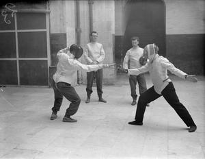 MALTA GARRISON KEEP FIT WITH FENCING PRACTICE. MARCH 1942, MALTA.