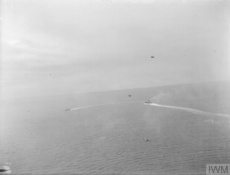 FAIREY ALBACORES, FROM HMS FORMIDABLE, TAKING PART IN TORPEDOING EXERCISES OFF MOMBASA. 25 MAY 1942.
