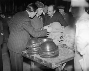 HM KING GEORGE VI VISITS A STEEL HELMET AND MUNITIONS FACTORY, UK