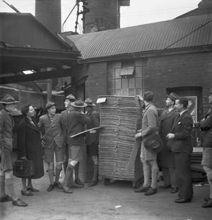 SALVAGE IN WARTIME BRITAIN: BOY SCOUTS VISIT A PAPER MILL, UK, 1943