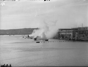 BRITISH SUBMARINE BASE AT MALTA. 26, 27 AND 28 JANUARY 1943, HMS TALBOT, THE ROYAL NAVAL SUBMARINE BASE AT MALTA.