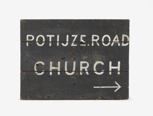 direction sign, Potijze Road Church