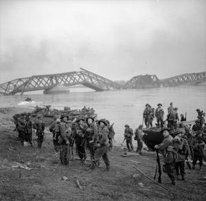 Men of the 1st Cheshire Regiment crossing the Rhine in Buffaloes at Wesel 24 March 1945