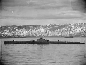 """FRENCH SUBMARINE """"CASABLANCA"""", ESCAPED FROM TOULON, REACHES ALGIERS. 11 DECEMBER 1942."""