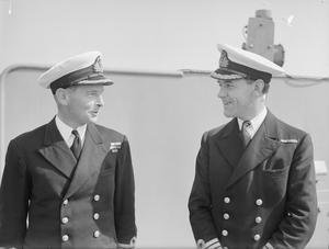 OFFICERS OF HMS RODNEY. APRIL 1943, ON BOARD HMS RODNEY AT GIBRALTAR.