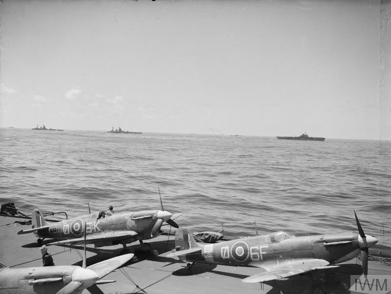 "BIG BRITISH SHIPS IN THE IONIAN SEA AS INVASION OF SICILY BEGAN. 10 TO 16 JULY 1943, ON BOARD HMS FORMIDABLE. BIG SHIPS OF FORCE ""H"" WERE IN THE IONIAN SEA AT THE START OF THE SICILY INVASION."