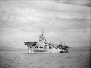 HMS UNICORN, BRITISH AIRCRAFT REPAIR SHIP, ALSO USED AS A CARRIER. 24 JUNE 1943, GREENOCK.