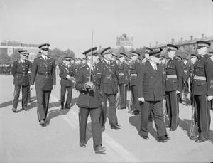 MR A V ALEXANDER THE FIRST LORD OF THE ADMIRALTY VISITS THE ROYAL MARINES. 2 JULY 1943, ROYAL MARINE BARRACKS, EASTNEY AND HAYLING ISLAND, PORTSMOUTH.