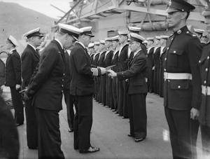 CHIEF YEOMAN ON BOARD HMS RODNEY MENTIONED IN DISPATCHES. MARCH 1943, ON BOARD HMS RODNEY.