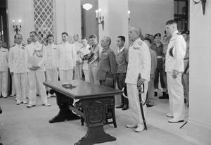 SIGNING OF THE JAPANESE SURRENDER AT HONG KONG, 1945
