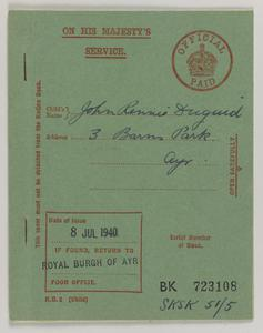 National rationing : child's ration book, R.B.2 : [food ration book issued to John Rennie Duguid, 3 Barns Park, Ayr, dated 8 July 1940]