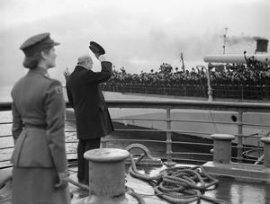 MR CHURCHILL'S RETURN. 20 SEPTEMBER 1943, GREENOCK. HMS RENOWN, THE 23,000 TON BATTLE-CRUISER BROUGHT MR CHURCHILL HOME AFTER HIS LONG STAY IN CANADA AND THE US.