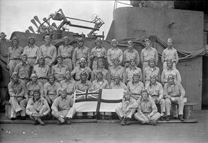 HMS VICTORIOUS LENT TO THE USN. JANUARY TO SEPTEMBER 1943, IN THE PACIFIC. THE 23,000 TON BRITISH AIRCRAFT CARRIER HMS VICTORIOUS WHILE SHE WAS CO-OPERATING WITH THE US NAVY IN THE PACIFIC OCEAN. SHE WAS LENT TO THE US PACIFIC FLEET AT A TIME WHEN IT WAS TEMPORARILY SHORT.
