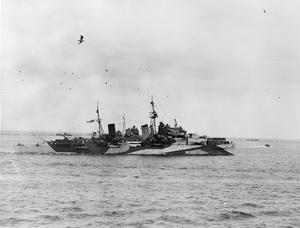 THE KING PAYS 4-DAY VISIT TO THE HOME FLEET. 18 TO 21 MARCH 1943, SCAPA FLOW, WEARING THE UNIFORM OF AN ADMIRAL OF THE FLEET, THE KING PAID A 4-DAY VISIT TO THE HOME FLEET.