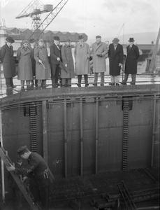 REGENT OF IRAQ VISITS CLYDEBANK. 22 NOVEMBER 1943, MESSRS JOHN BROWN & CO, GLASGOW. THE VISIT OF ABDUL ILLAH, THE REGENT OF IRAQ TO THE SHIPYARD.