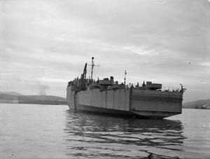 HMS EASTWAY, LANDING SHIP DOCK. 21 NOVEMBER 1943.