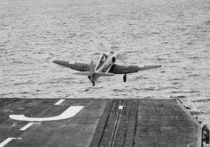 THE FIRST AIRCRAFT TO TAKE OFF FROM HMS EAGLE. OCTOBER 1951, ON BOARD THE AIRCRAFT CARRIER HMS EAGLE DURING HER TRIALS SHORTLY AFTER COMMISSIONING.