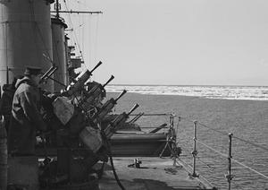ON BOARD THE CRUISER HMS SUFFOLK ON PATROL. 1941, AT SEA IN THE DENMARK STRAITS.