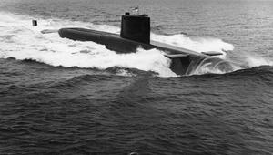 HMS RESOLUTION, NAVY'S FIRST POLARIS SUBMARINE. SEPTEMBER 1967, DURING TRIALS IN THE ATLANTIC.
