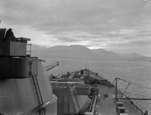 HMS DUKE OF YORK IN ICELAND, DECEMBER 1943.