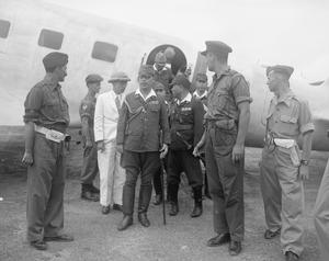 JAPANESE PEACE EMISSARIES ARRIVE AT RANGOON, BURMA, 1945