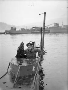 X-CRAFT AND OFFICERS. 18 APRIL 1944, ROTHESAY.