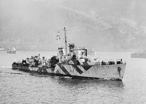 HMS CALPE, HUNT CLASS DESTROYER. DECEMBER 1943, FROM ON BOARD HMS FORMIDABLE.