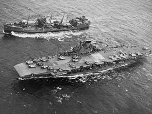 WITH THE AIRCRAFT CARRIER HMS VICTORIOUS IN NORTHERN WATERS. DECEMBER 1943.