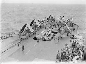 SURPRISE ATTACK ON THE ANDAMANS. 21 JUNE 1944, ON BOARD HMS ILLUSTRIOUS, WITH THE EASTERN FLEET. AFTER THE SUCCESSFUL AIR ATTACK ON PORT BLAIR IN THE ANDAMAN ISLANDS.