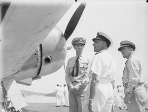 C IN C EASTERN FLEET VISITS US CARRIER. 3 APRIL 1944, TRINCOMALEE. ADMIRAL SIR JAMES F SOMERVILLE, KCB, KBE, DSO, C IN C EASTERN FLEET VISITED THE USS SARATOGA.