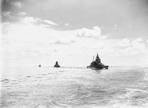 WITH THE BRITISH EASTERN FLEET. 16 TO 21 APRIL 1944, ON BOARD HMS QUEEN ELIZABETH, FLAGSHIP OF THE C IN C EASTERN FLEET, ADMIRAL SIR JAMES SOMERVILLE, KCB, KBE, DSO, IN THE BAY OF BENGAL, DURING THE ACTION AGAINST THE JAPANESE AT SABANG.