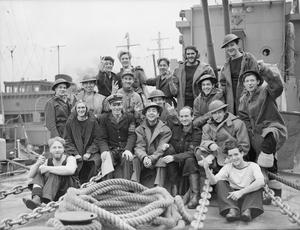 MEN OF THE BRITISH DESTROYER EXMOOR. 11 TO 15 MARCH 1944, NAPLES, ON BOARD THE HUNT CLASS DESTROYER HMS EXMOOR.