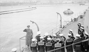 ON BOARD THE CRUISER HMS MAURITIUS. NOVEMBER 1943 THROUGH JANUARY 1944.