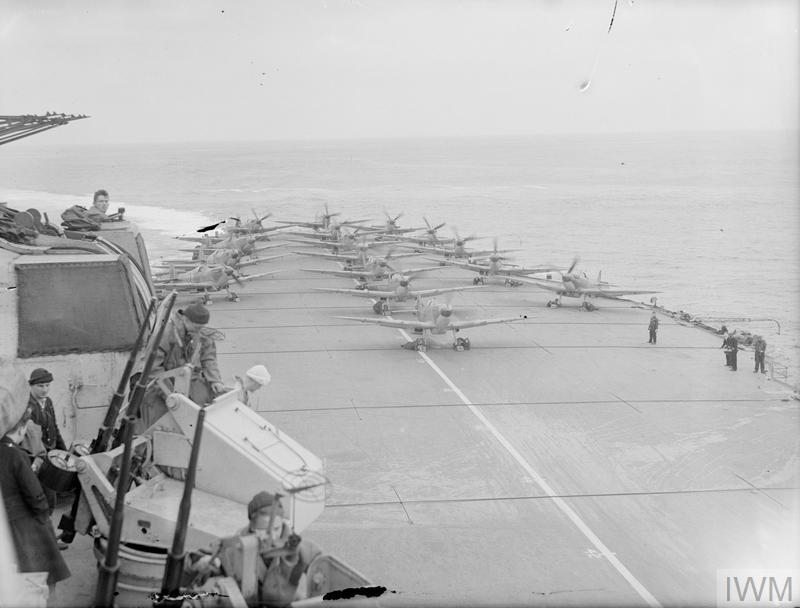 WITH AN AIRCRAFT CARRIER AT SEA. AUGUST 1944, ON BOARD HMS INDEFATIGABLE.