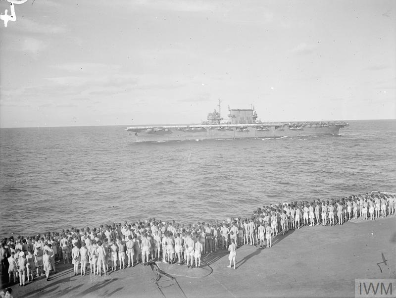 THEY BATTERED SURABAYA. 5 TO 27 MAY 1944, ON BOARD THE AIRCRAFT CARRIER HMS ILLUSTRIOUS IN THE INDIAN OCEAN. SCENES ON BOARD THE ILLUSTRIOUS WHEN AN AIRSTRIKE BY BRITISH, AMERICAN, AUSTRALIAN, FRENCH, AND DUTCH UNITS, WAS CARRIED OUT AGAINST THE JAPANESE-HELD NAVAL BASE.