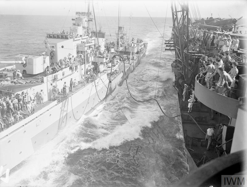 WITH AN EASTERN FLEET CARRIER. 5 TO 27 MAY 1944, ON BOARD HMS ILLUSTRIOUS IN THE INDIAN OCEAN WITH THE EASTERN FLEET.