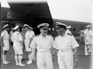 NEW COMMANDER IN CHIEF EASTERN FLEET TAKES OVER. 22 AUGUST 1944, CEYLON. ADMIRAL SIR BRUCE FRASER, GCB, KBE, ARRIVED IN CEYLON TO TAKE UP HIS APPOINTMENT AS COMMANDER IN CHIEF EASTERN FLEET, IN SUCCESSION OF ADMIRAL SIR JAMES SOMERVILLE.